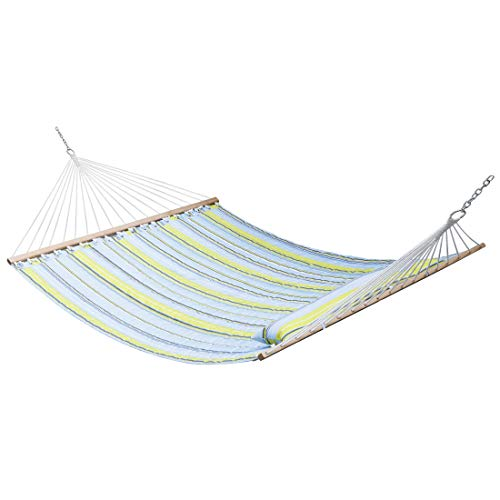Super Deal Upgraded Quilted Fabric Hammock with Pillow, Extra Large Double Hammock with Wood Spreader Bars, UV-Resistant Perfect for Outdoor Patio Yard, Green Stripes