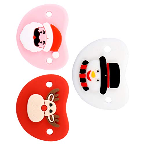 TOYANDONA 3pcs Silicone Baby Pacifier Christmas Santa Claus Snowman Reindeer Pacifier Baby Teether Toy for Baby Toddler Girl Boy Xmas Supplies