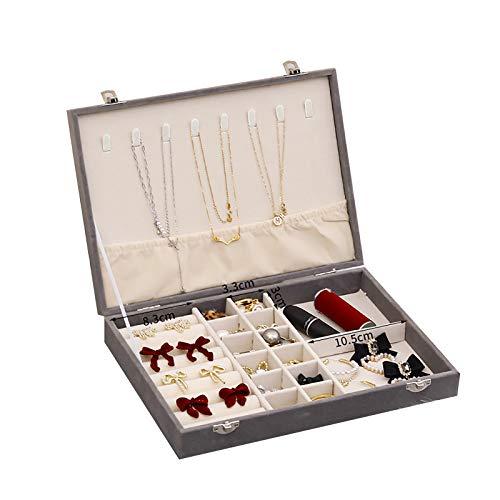 Aexle Joyero de franela para colgar collares, pendientes, caja de almacenamiento de escritorio, gran capacidad para anillos, joyas y maquillaje