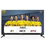 CHiQ Televisor Smart TV LED 43 Pulgadas, Resolución 4K UHD, HDR 10/HLG, WiFi, Bluetooth (Solo Auriculares y Altavoces),...