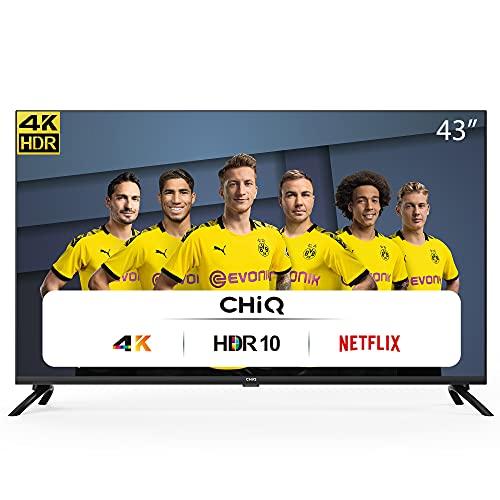 CHiQ UHD 4K Smart TV, 43 Zoll(108cm), HDR10/hlg, WiFi, Bluetooth, Prime Video, Netflix 5,1, YouTube Kids,3 HDMI,2 USB,Frameless