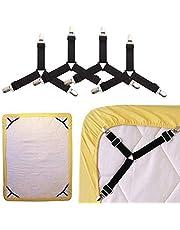 Lakenspanner, driehoekige laksluitingen, 4-delige set, verstelbare bedlakenriemen, elastische beugelovertrekken, dekbedovertrekhouder voor beddenlaken, matrasovertrekken, sofakussen, zwart