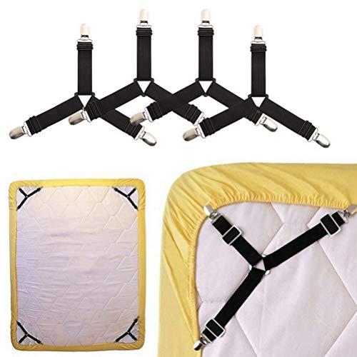 Bettlakenspanner,Dreieck Bettlakenverschlüsse 4er-Pack Verstellbar Bettlakenriemen Elastische Bügelbezugsspanner Bettdeckenhalter für Bettlaken Matratzenbezüge Sofakissen Schwarz
