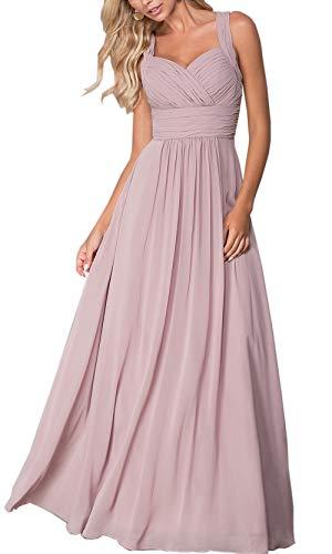 Roiii Elegant Abendkleid Maxi Chiffonkleid V-Ausschnitt Strand Boho Party Kleid Casual Große Größen Cocktailkleid(38-40(Tag M),Lila)