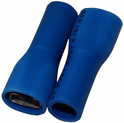 Aerzetix: 10 x Kabelschuhe Kabelschuh ( Klemme ) weiblich flach 4.8mm 0.8mm 1-2.5mm2 blau isoliert