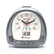 Talking function and clear analogue face assists the visually impaired Dual time with traditional hands and digital display Voice announcement of time and temperature Alarm and hourly time announcement optional Uses two AA batteries (not included)