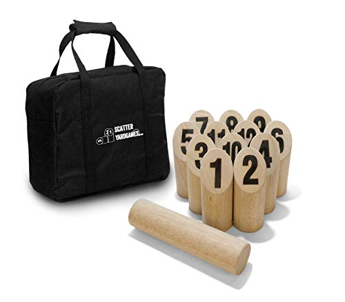 Yard Games Scatter Number Block Tossing Game with Durable Carrying Case and Heat Burned-in Numbers