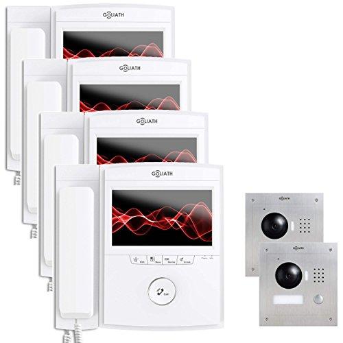 Goliath AV-VTC95 IP video intercom, 4 monitoren, inbouw deurstation, roestvrij staal, HD-camera, app met deuropener-functie, PoE-adapter, videogeheugen, 1 familiehuis-set