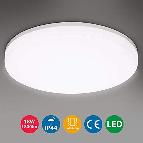 18W Deckenleuchte LED, Oeegoo IP44 Wasserfest Badlampe,Deckenlampe Flimmerfrei, 1800LM LED Lampen für Badezimmer Balkon Flur Küche Wohnzimmer, Neutralweiß Badezimmerleuchte Ø28 4000K