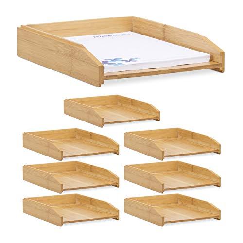 Relaxdays 8 x Dokumentenablage, stapelbar, DIN A4 Papier, Büro, Schreibtisch, Briefablage aus Bambusholz, 6 x 25 x 33 cm, Natur