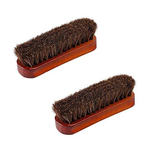 Yaosh 2 peças de escova de cabelo de cavalo escova de brilho, cerdas de cavalo para botas, sapatos, assentos de carro, sofás, bolsas, para homens e mulheres, 2 peças