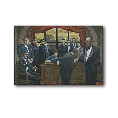 FAJIA Póster de mafia laminada Scarface padrino casino gángsters, cuadro impreso en lienzo, pintura de pared, póster artístico de pared de 50 x 75 cm