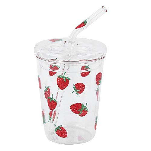 Resistente al calore trasparente carino cartone animato trasparente pattern di fragole caffè acqua potabile tazza di vetro con coperchio di paglia per bambini fidanzata arredamento per ufficio
