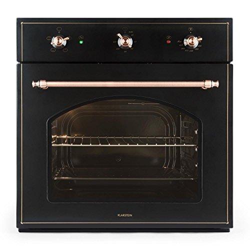 KLARSTEIN Vilhelmine Horno Empotrado multifunción con diseño Retro (Capacidad 55 L, bajo Consumo, Clase energética A, regulador, Temporizador, iluminación, Bandeja, Parrilla) - Negro