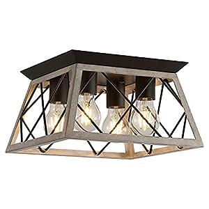 Q&S Farmhouse Ceiling Light Oak Semi Flush Mount Vintage 4-Light Square Rustic Island Light Fixtures for Entryway Hallway Dining Room Living Room Bedroom