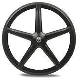 JIMAITEAM Carbon Fixed Gear 700c,Tri Spoke 5-Spoke Rim Rear & Front Single Speed Fixie Bicycle Wheel Clincher Type 50mm Depth 21mm Width Track Bike Wheel (Front Wheel)