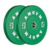 AMGYM Color Olympic Bumper Plate, Weights Plates, Bumper Weight Plate, Steel Insert, Strength Training(25lb Pair)