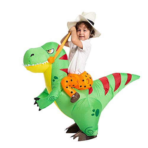 Spooktacular Creations Halloween Inflatable Costume Ride a T-rex Dinosaur Air Blow-up Deluxe Halloween Costume - Child (7-10 Yrs)