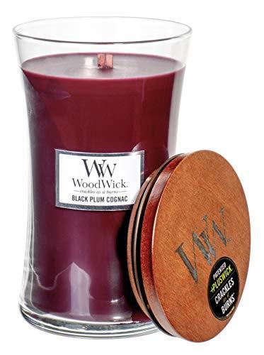 WoodWick Vela de reloj de arena con aroma a coñac, aroma de mecha de madera y mecha en tarro de cristal transparente, tamaño grande, 22 onzas