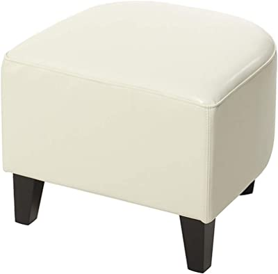 CAICAI Simple family stool Faux Leather Ottoman Foot Stool Single Seater Bench 48 * 44 * 40CM (color : Brown, Size : 48 * 44 * 40cm) Commodity Code: LJW-491 ( Color : Ivory White , Size : 48*44*40cm )