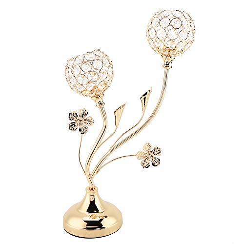 Qqmora Candelabro de Cristal Brillante Elegante con Forma de Flor antioxidante para Bodas para Fiestas de cumpleaños