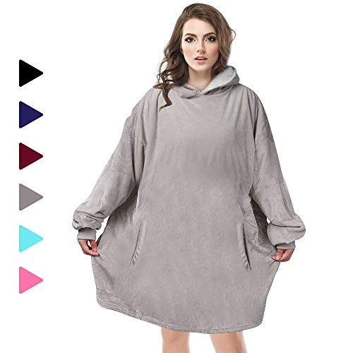 AmyHomie Blanket Sweatshirt Oversized Sherpa Hooded SweatshirtWearable Hoodie Blanket with Pocket for Adults amp Kids amp Teen Gray one Size