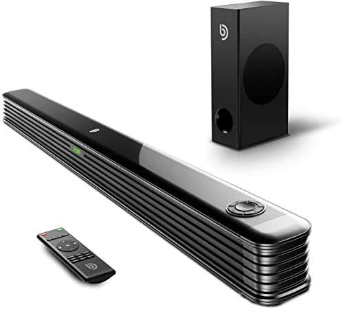Bomaker Soundbar für TV Gerät mit Wireless Subwoofer, 150W Soundbar 2.1 Kanal Bluetooth 5.0 DSP Technologie Tiefer Bass, Heimkino Soundbarsystem unterstützt Optisch, AUX, USB