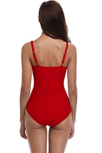 SHEKINI Mujer Ajustable Traje de baño Relleno Bañador Arruga de una Pieza Push up Malla (Medium, Rojo)