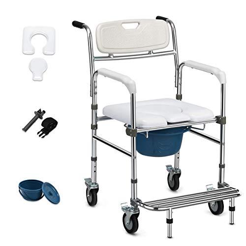 COSTWAY Höhenverstellbarer Toilettenstuhl mit klappbarer Fußstütze, Nachtstuhl mit Rollen, Rollstuhl bis 100kg belastbar, Toilettenrollstuhl inkl. Eimer, für Ältere, Verletzte und Behinderte, weiß