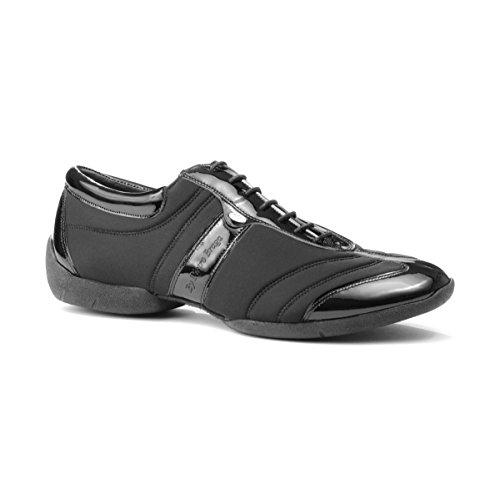 PortDance Herren Sneakers/Dance Sneakers PD Pietro Premium - Lycra/Lack Schwarz - Sneaker Sohle [EUR 44]