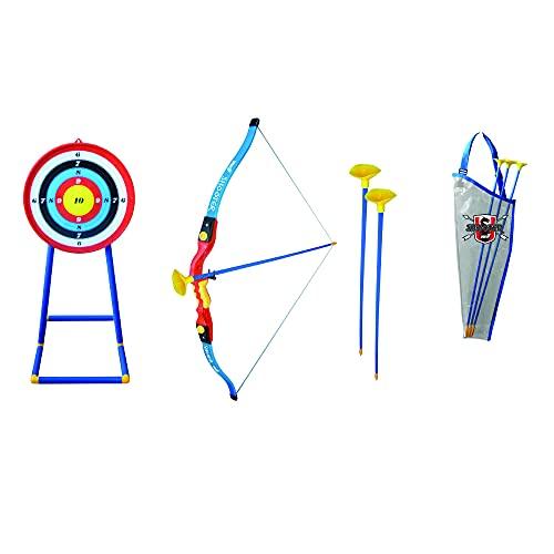 Sport1 Arco e frecce per Bambini Arco con frecce per Bambini Arco frecce Bambini con Bersaglio da Terra Piedistallo, 3 Frecce Incluse