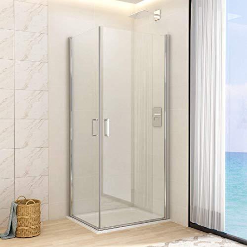 WELMAX Duschkabine Eckeinstieg 80x90 cm Duschabtrennung mit Pendeltür Doppelt Duschtür Schwingtür Duschwand aus 6mm Sicherheitsglas mit Nano-Beschichtung Höhe 195cm