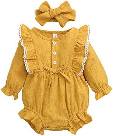 Newborn Baby Girl Clothes Romper Full Sleeve Jumpsuits Cotton Ruffle Infant Bodysuit with Bowknot product image