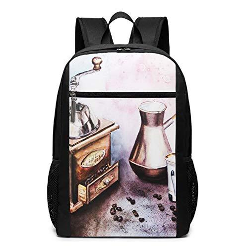 Schulrucksack Bohnen Essen Stillleben Kaffee, Schultaschen Teenager Rucksack Schultasche Schulrucksäcke Backpack für Damen Herren Junge Mädchen 15,6 Zoll Notebook