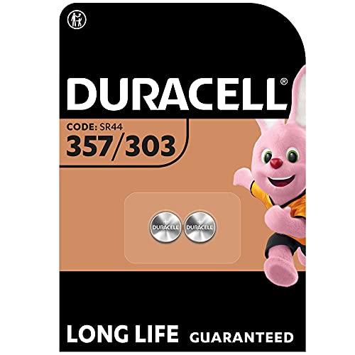 Oferta de Duracell Pilas especiales de óxido de plata 357/303 de 1.55V, paquete de 2 unidades SR44/V357/V303/SR44W/SR44SW, diseñadas para su uso en relojes, calculadoras y dispositivos médicos