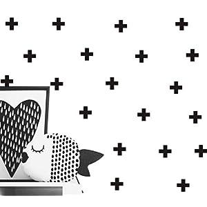 72pcs /Pack Swiss Cross Wall Decal – Home Decor Wall Sticker-Plus Sign Cross Stickers for Kids Nursery Bedroom YYU-13(Black 6.5cm)