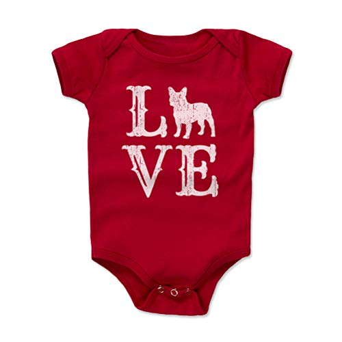 French Bulldog Baby Clothes, Onesie, Creeper, Bodysuit - French Bulldog Love WHT (Red, 3-6 Months)