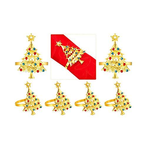 Serviettenringe mit Weihnachtsbaum-Motiv, goldfarben, 6 Stück, Metalllegierung, Serviettenschnallen, Halter für Thanksgiving, Silvester, Weihnachten Dinner-Partys