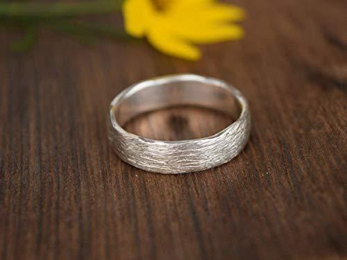 Silber Trauring, Eheringe Hochzeit, roh, gebürsteter Ring, Man Ring