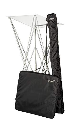 Spider Pult – Stehpult faltbar, leicht und stabil – Schreibpult mobil in verschiedenen Höhen und Farben - Aluminium und Acryl - Rednerpult (transparent mit Taschen, Höhe 115cm)