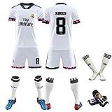 20-21 Saison Fan-Version von Herren-Fußballuniformen, professionelle Team-Trainingsuniformen mit Socken und Leggings, Ausrüstung, maßgeschneiderte spanische-WhiteNo.8-M