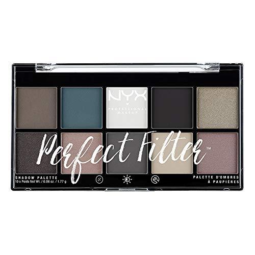 NYX Professional Makeup Perfect Filter Shadow Palette - Lidschattenpalette mit 10 intensiven leuchtenden Farbtönen, 17,7g, Gloomy Days 04