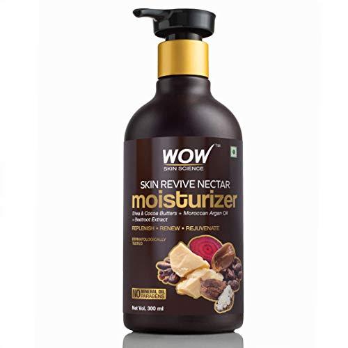 of moisturizer oil for face skins WOW Skin Revive Nectar No Parabens & Mineral Oil Moisturiser, 300mL