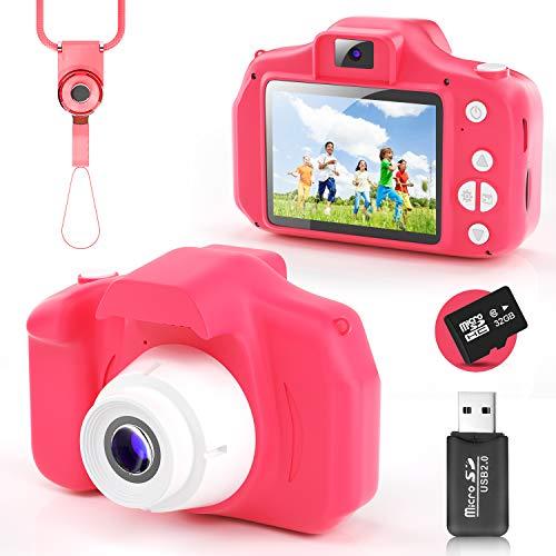 YunLone Cámara para Niños 12MP Selfie Cámara Digital 1080P HD Video Cámara Infantil 32GB TF Tarjeta, Estuche de Transporte, Batería Recargable 1200 mAh,2 Pulgadas, Regalos Juguete -Burdeos