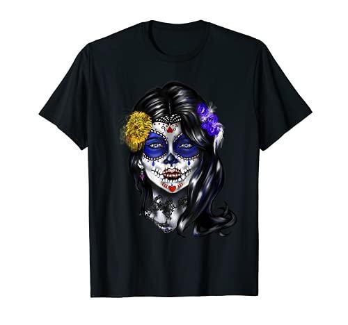 Cráneo de mujer gótica Día de los Muertos Camiseta