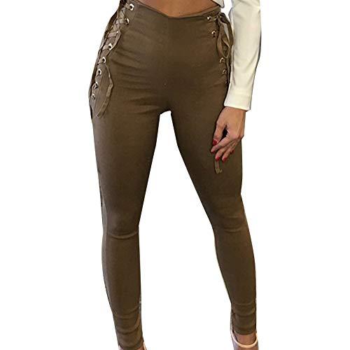 fuchsiaan Women Solid Color Side Bondage Back Zip High Waist Fitness Pencil Pants Trousers - Khaki L