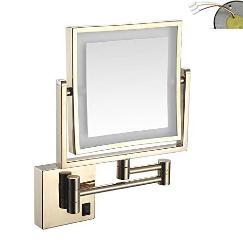 ZSHYP Vanity Spiegel Met Verlichting Uitbreidbaar, Make-up Badkamer Spiegel Wandmontage 3x Vergroting Dubbelzijdig Voor Hotel Badkamer