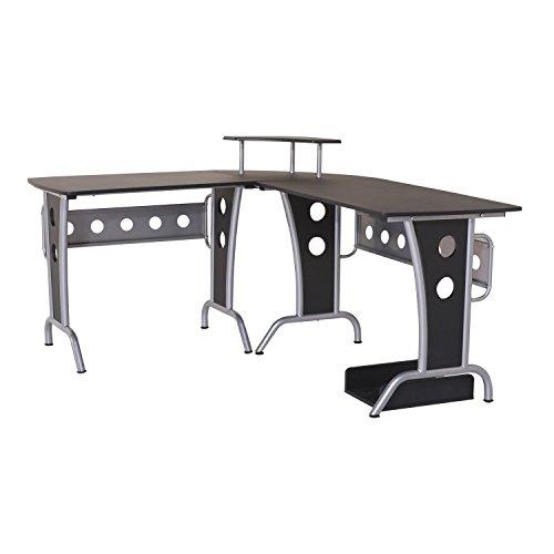 HOMCOM 2454140031 mesa de ordenador madera negro 165x145x86cm