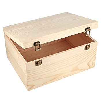 Woiworco Unfinished Wooden Box with Hinged Lid and Front Clasp Natural Pine Wood Boxes DIY Craft Wooden Boxes for Art Hobbies Jewelry Box and Home Storage  13 x 10 x 6.5 inch