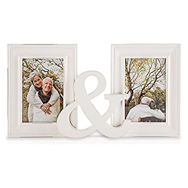 ZingVic Double 4x6 Romanticism White Wood Collage Picture Frame with Glass Front - True Love Collections - 2 Openings - Stands Vertically on Desktop or Table Top
